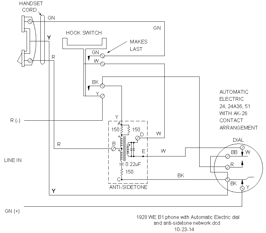 addition of antisidetone circuit to vintage telephones schematic diagram