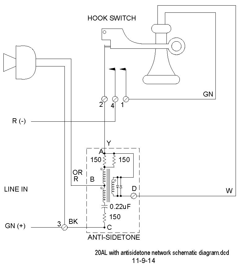 Addition of Antisidetone Circuit to Vintage Telephones on
