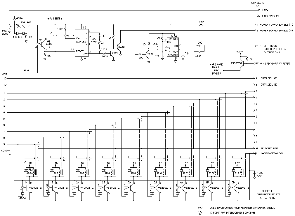 Home PBX with Nine Internal Lines and One Outside Line Schematic on